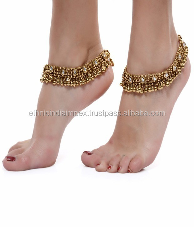 Antique GOLD TONE KUNDAN ANKLET PAYAL PAIR