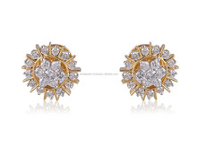 1.07 CTS G COLOR NATURAL DIAMOND STUD EARRINGS IN SOLID BIS HALLMARK 18KT YELLOW GOLD AT WHOLESALE PRICE