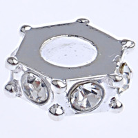 Zinc Alloy Pan Beads lygon without oll & with rhinestone nick lead & d free 10x3.50mm Hole:Appr 4.5mm 10PCs/Bag Sold By Bag