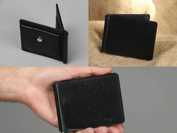 Black natural leather wallet