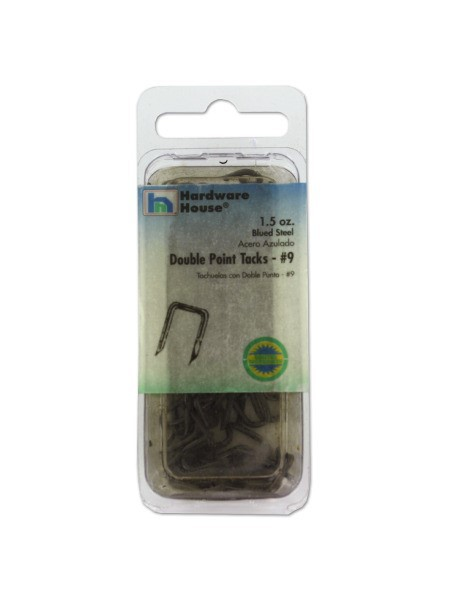 Blued steel double point tacks, 1.5 ounces
