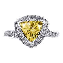 Yellow Canary Trillion Diamond 1.51 Carats Anniversary Ring White Gold 14K Jewel