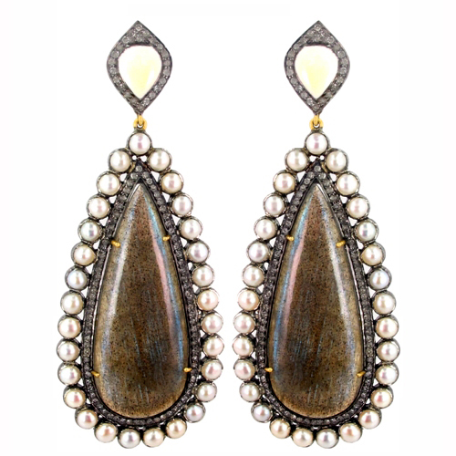 14k Gold Pearl Jewlery Sterling Silver Diamond Labradorite Drop Earrings Wholesale Gemstone Jewelry