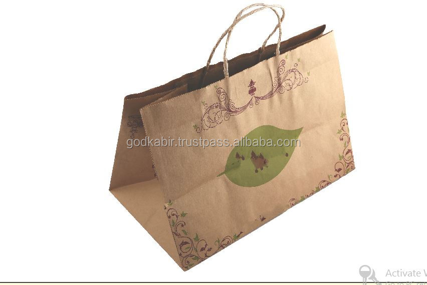 Most People demand vinatge and decorative famous khadi colour Brown Kraft Paper Bags 12 inch x 8 inch x 7 inch.