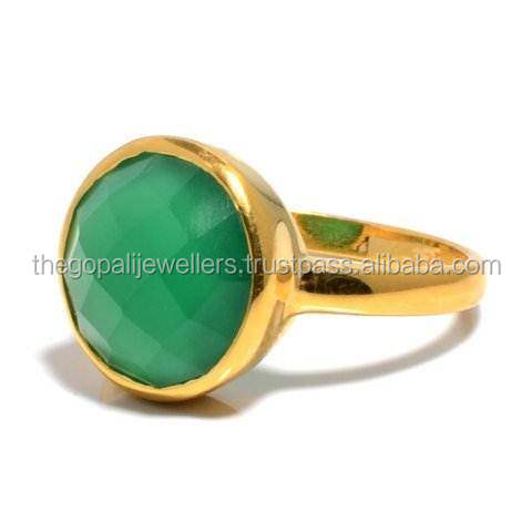 The Gopali Jewellers Green Onyx Gemstones Ring 925 Sold Sterling Silver Ring Designer Prong Ring