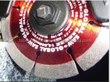 A secure clamp and One-touch diamond saw machine saw blade with LED lights made in Japan
