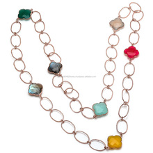 Multi Gemstone Necklace Clover Shape Necklace Chain Necklace