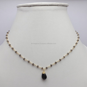 Natural Smoky Quartz Beads and Pear Gemstone Rhodium Plated Silver Necklaces Stylish 925 Sterling Silver Necklace Jewelry