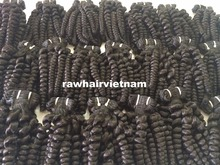 Super original human hair virgin unprocessed natural color black thin hair thick hair machine weft wavy curly steam hot water