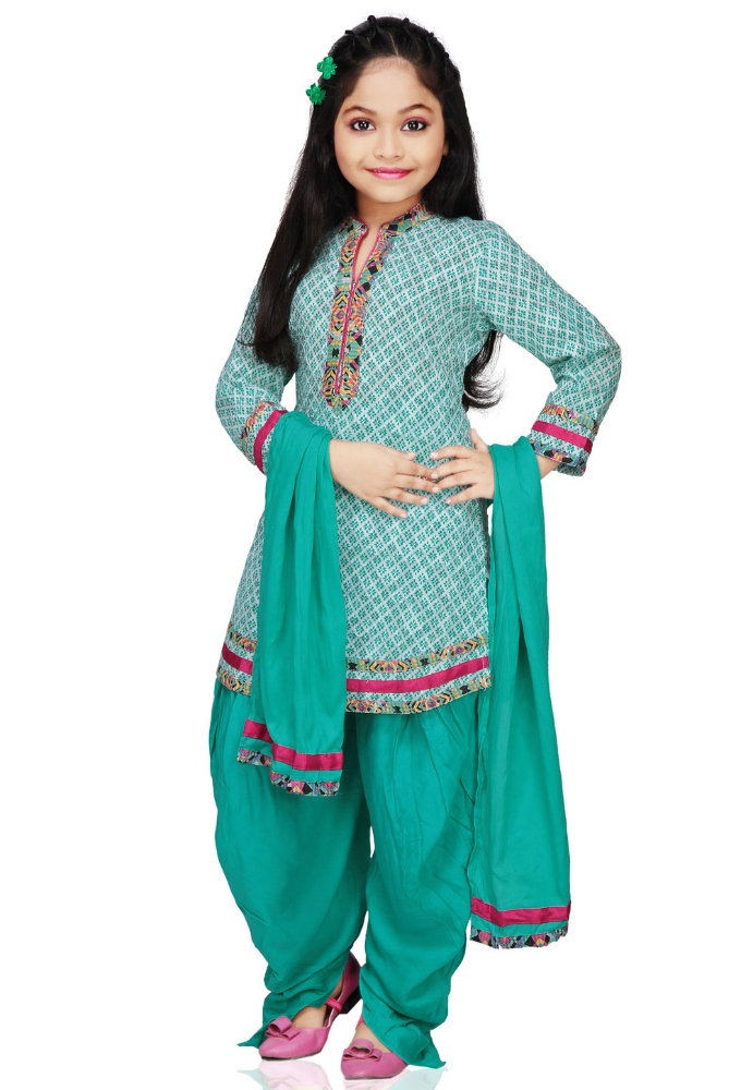 Vastra Vinod White and Aqua Cotton Jacquard Readymade Patiala Kameez