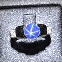 7.5x7 MM Blue Star Sapphire Ring Lab-Created Sterling Silver 92.5 Size 7.75