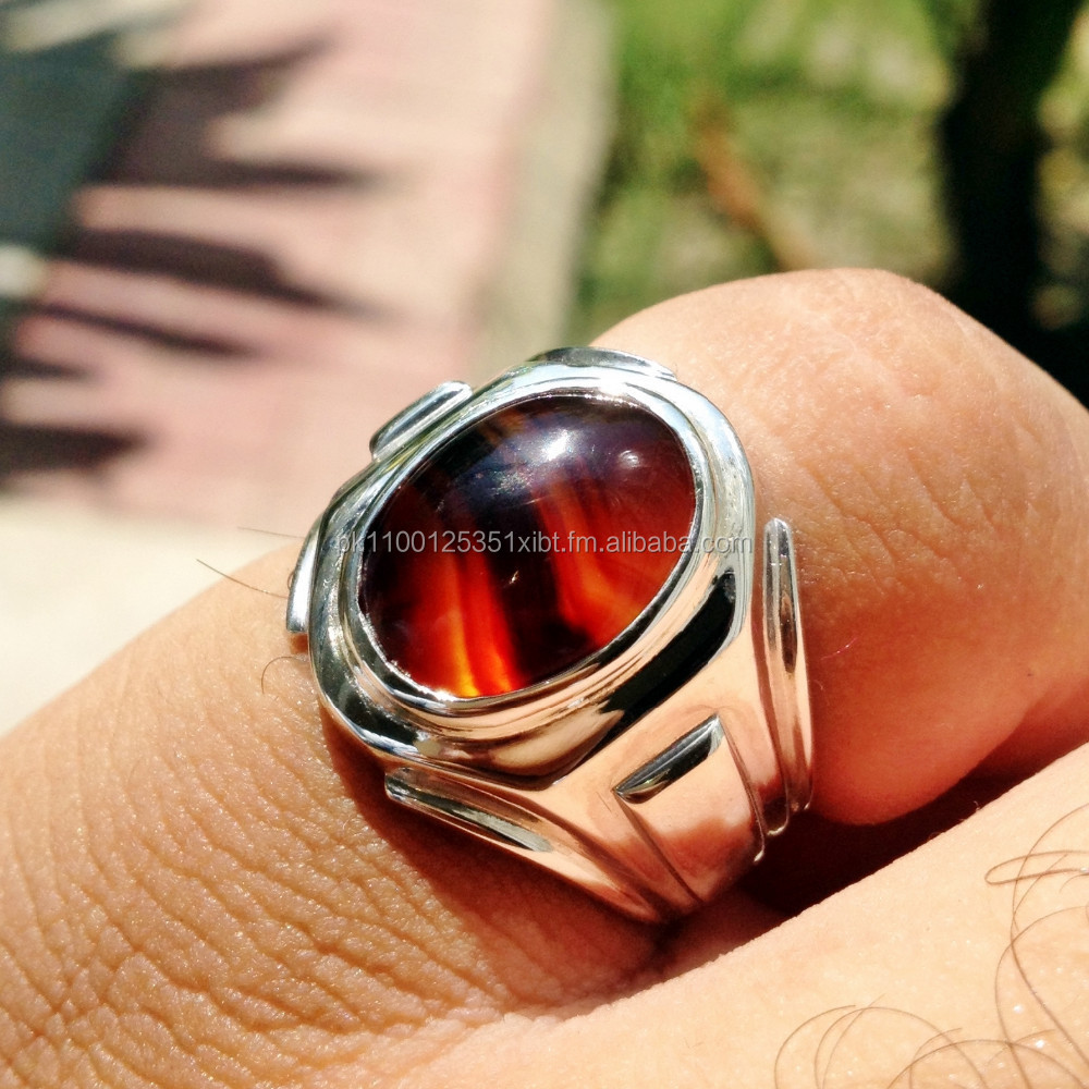 Rare Red Natural Carnelian Yemani Aqeeq in Unisex Sterling Silver Resizable Ring