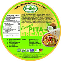 Healthy COCONUT PITA BREAD, Vegan, Gluten Free, 100% Natural & Non GMO