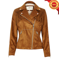 Luke Apparels - Women hot sale genuine quality leather fringed trim tasseled leather jacket wlj467