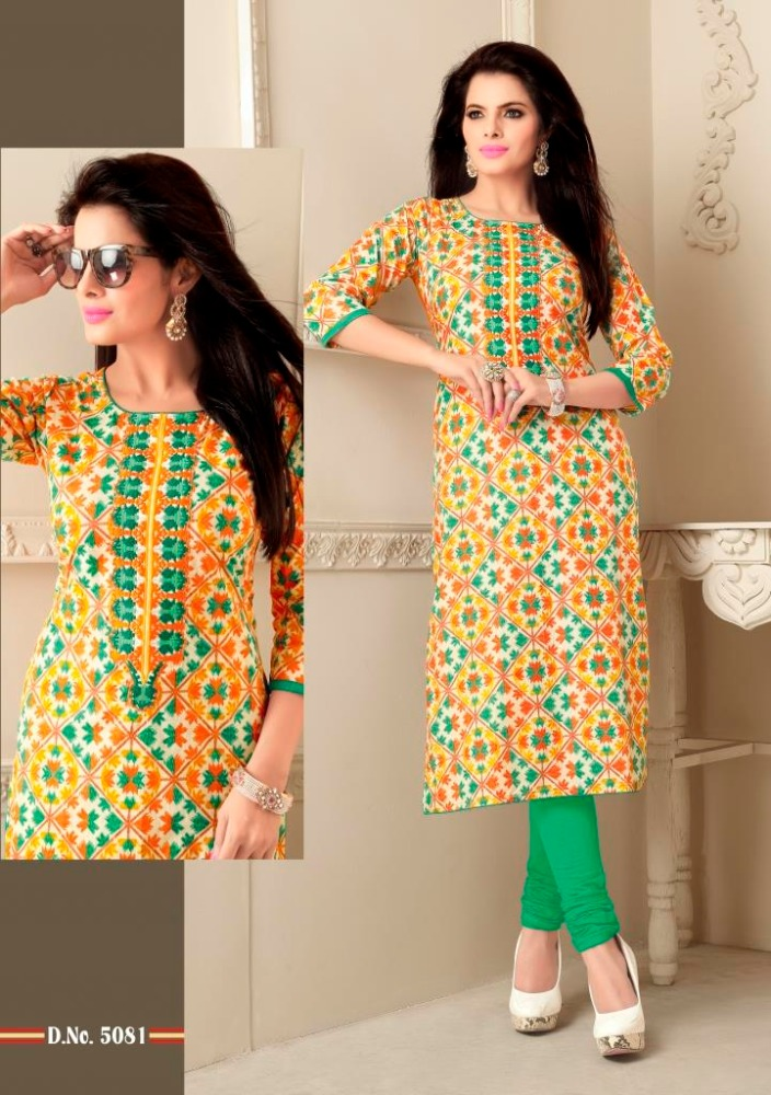 Cotton Printed fabric with neck embroidery work