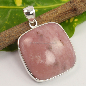 opal jewelry Fashion big stone pendant design 925 Sterling Silver Natural PINK OPAL Gemstone