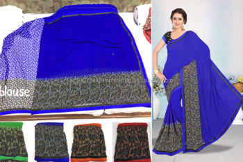 Shivani -5 weightless border attached banglori blue saree