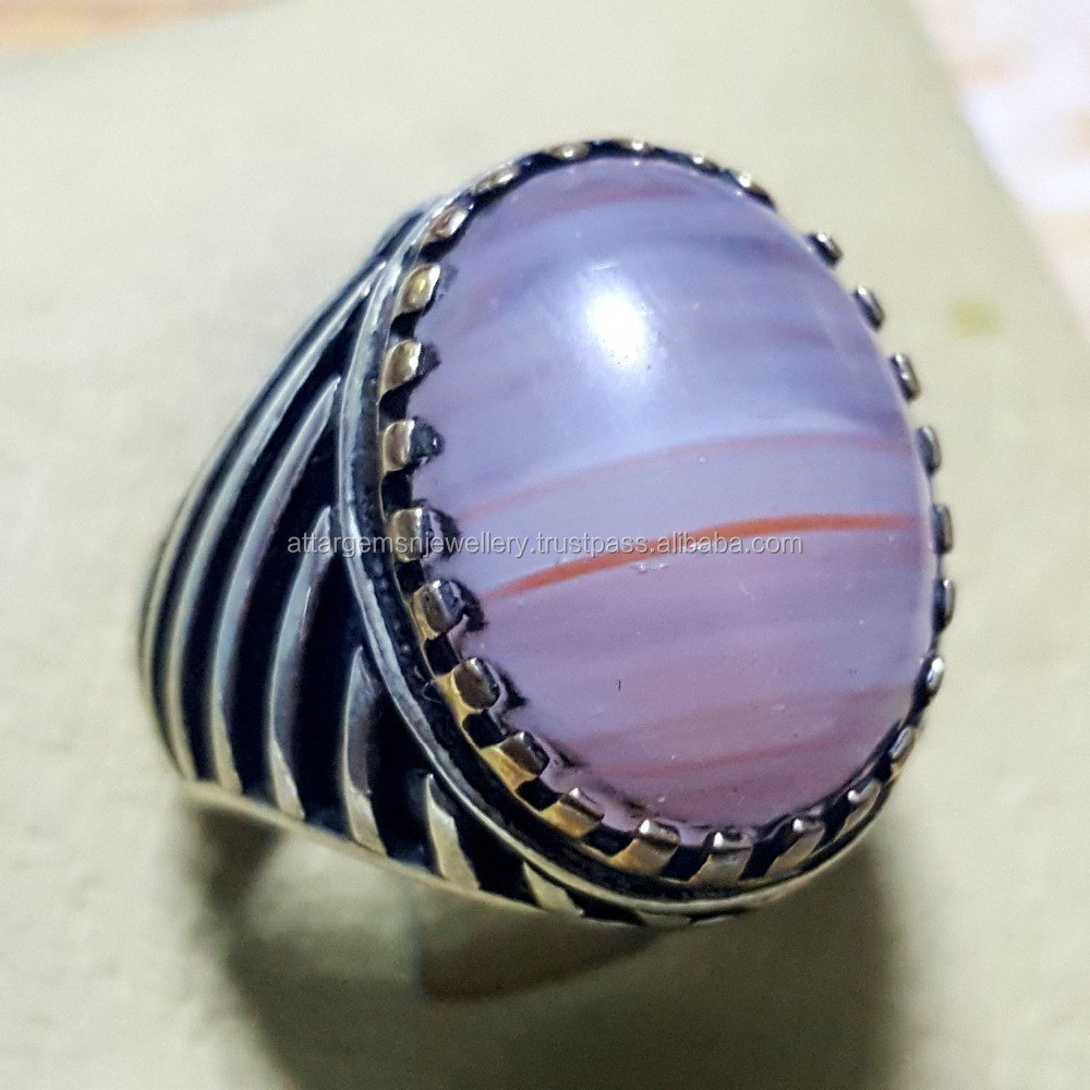 WOW 925 sterling silver men ring pink aqeeq stone agate arabic jewelry man rings