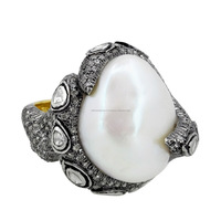 Pearl Gemsrtone Vintage Ring 14K Yellow Gold Rose Cut Diamond 925 Silver Jewelry