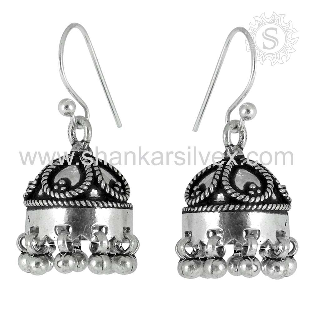 High Polish Jewelry Plain Silver Jhumka 925 Sterling Silver Jewelry Earring Handmade Silver Jewelry Exporter