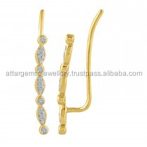 sterling silver 925 viayer wermeil gold CZ hoop earrings