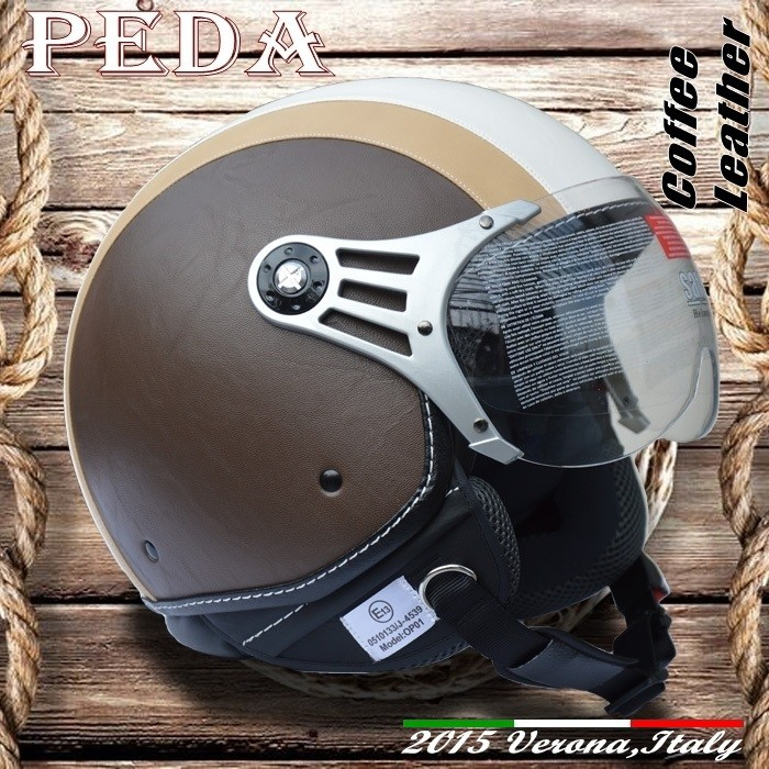 (Coffee Leather) 2017 ECE DOT motorcycle jet urbon helmet CASCOS vintage leather Italian open face (PEDA MOTOR hight quality)