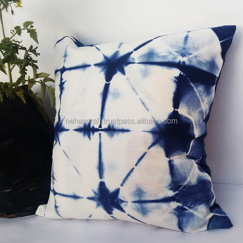 ASSCC-19 Truss Designer Folded Cotton Shibori Indigo Blue Tie Dyed Square Canvas Sofa/Bed Indian Cushion Covers Pillow Cases