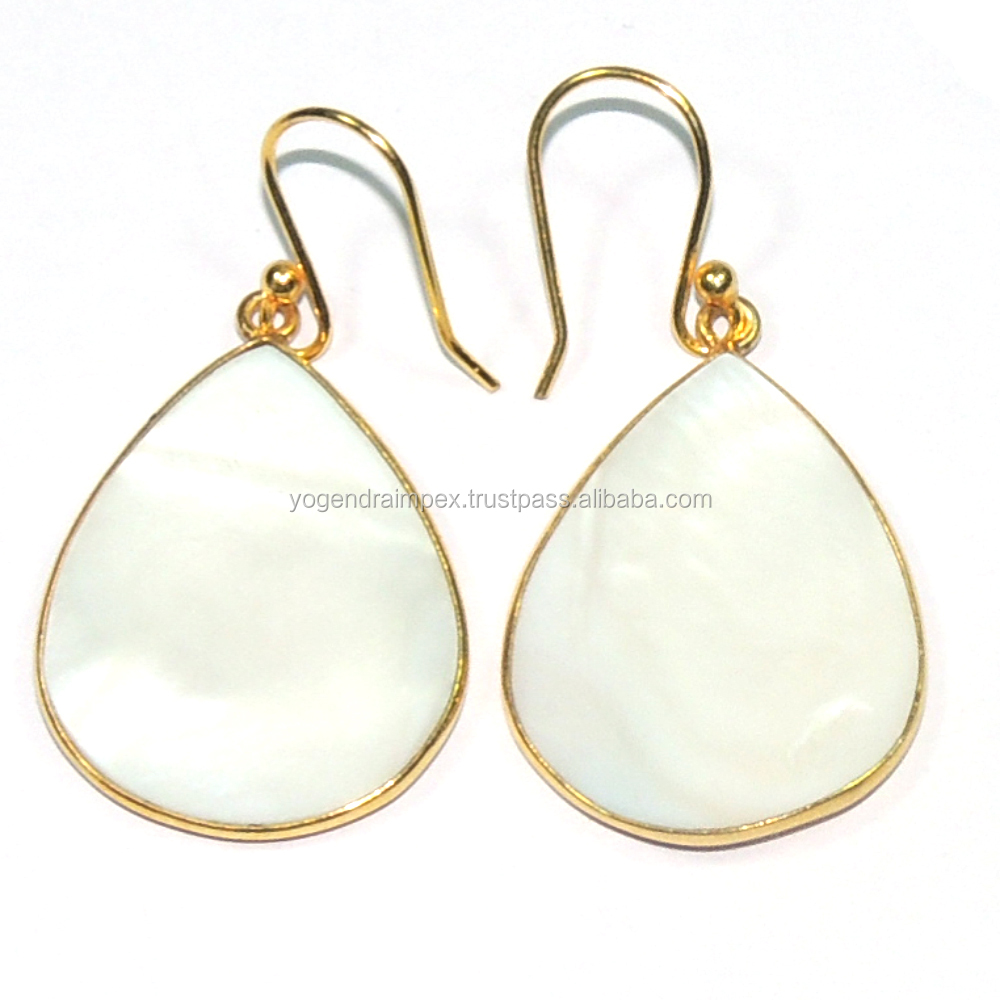 Mother of Pearl Pear Shape 925 Sterling Silver Earring