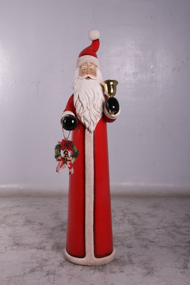 Skinny Santa with bell & wreath