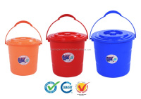Plastic New model Bucket with lid B952 B953 B954, color: red, blue, orange, PP, Free BPA, Eco-friendly