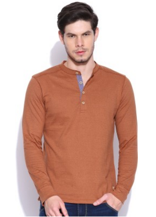 t shirt for men with long sleeves round collar and bouttons