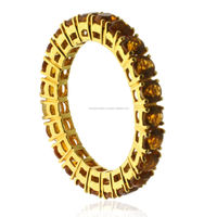 2.44ct Citrine Band Ring 18kt Solid Yellow Gold Wedding Engagement Party Jewelry