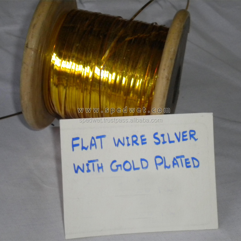 Flat wire thread silver with gold plated