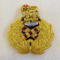 Gold embroidery cap badges | Bullion wire hat badges embroidery | Army officer cap badges emblem crests