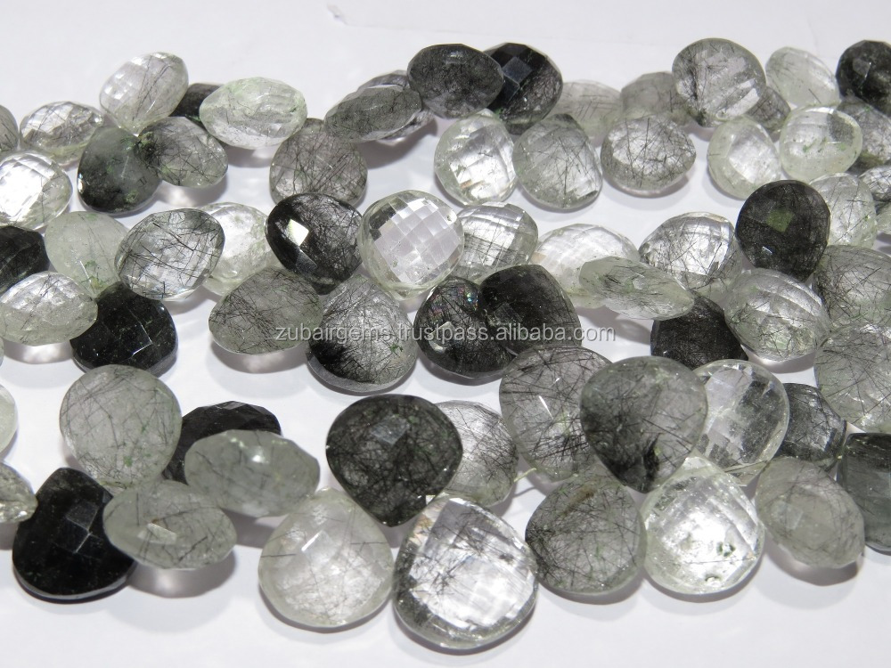Black Ruhtile Faceted Pear Shape Drops Beads