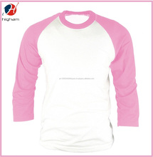 Custom Blank Cotton Raglan 3/4 Sleeve Baseball T Shirt Wholesale