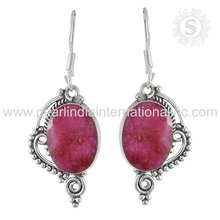 Gleaming Pink Ruby Gemstone Earring Jewelry 925 Sterling Silver Earrings Handmade Silver Jewelry Wholesaler India