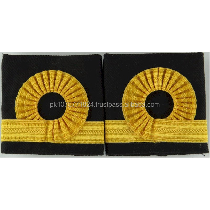 Royal Navy Sub-Lieutenant Rank Slides Facing Pair Bullion wire-embroidered Naval Branch, rank or miscellaneous