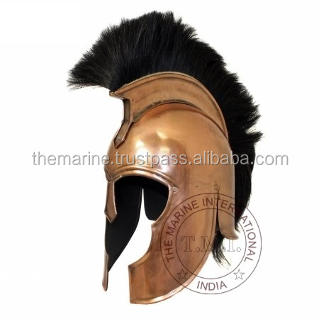 COPPER ANTIQUE TROY HELMET - MOVIE TROY SPARTAN HELMET WITH BLACK PLUME