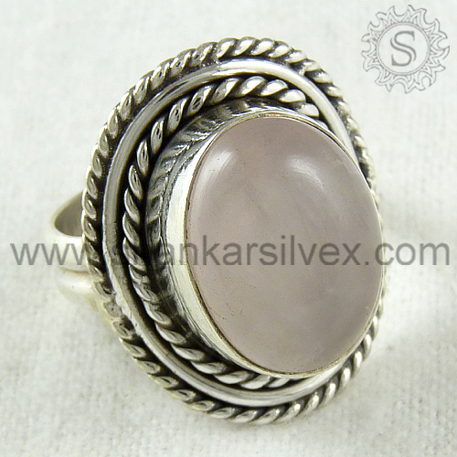 Grandiosity Artisan Rose Quartz Gemstone Ring For Women Wholesaler 925 Sterling Silver Jewelry Indian Silver Jewelry