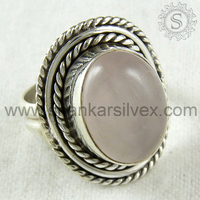 Kingly Looking Rose Quartz Ring For Lady Wholesaler 925 Sterling Silver Ring Online Silver Jaipur