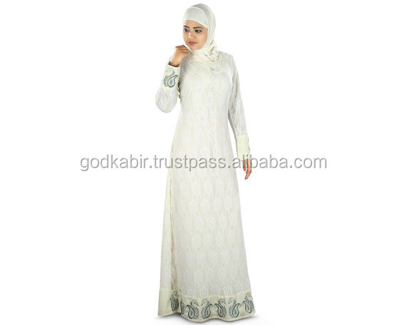 Net Abaya Islamic Party Wear Jilbab Hijab Burka/Trendy Muslim Embroidered off White Burqa| Formal Casual Wear Dress/Best White .