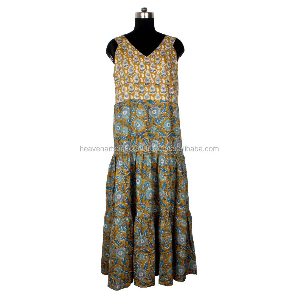 Indian Hand Block Printed Top Long Kurti Dress Ladies Women Long Kurta Shirt
