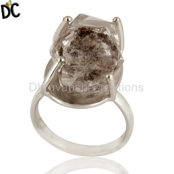 Prong Setting Herkimor Diamond Party Wear Ring, Cheap Price Sterling Silver Ring Jewelry