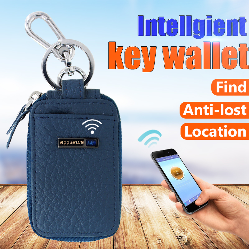 2016 popular promotion leather mini key holder,key chain Anti-lost smart wallet