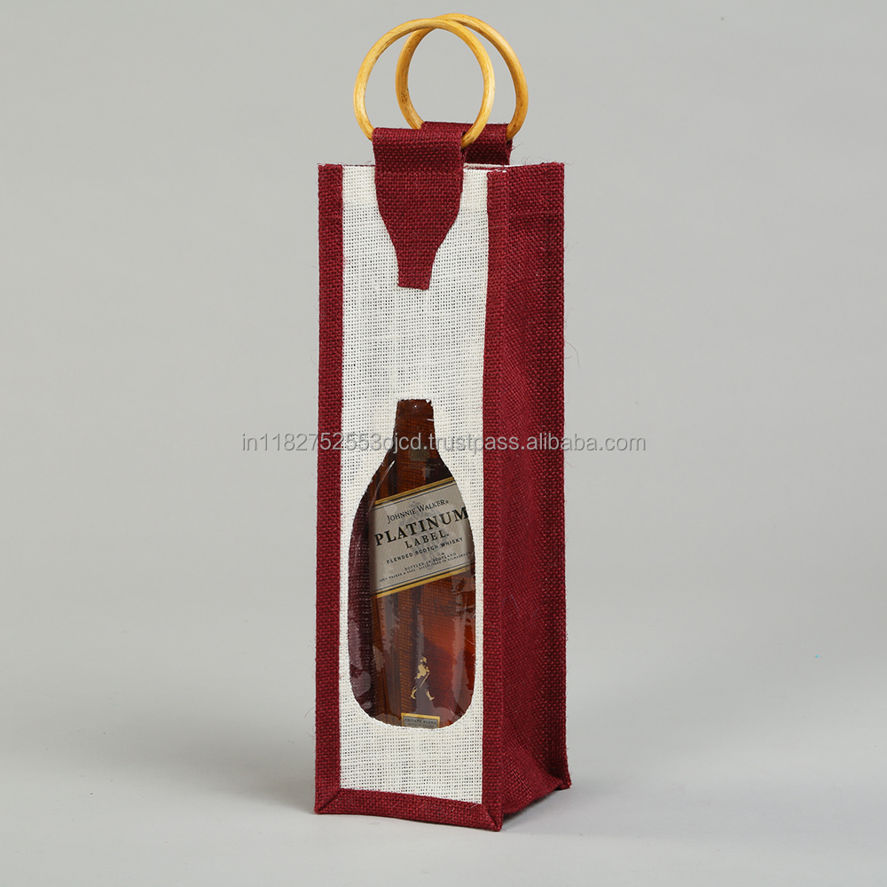 Single wine bottle bag/ wine bottle bag with window/ wine bottle jute bag with see through window