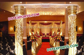 Wedding Golden Fiber Crystal Welcome Gate/ Indian Wedding Welcome Gate/ Latest Wedding Entrance Gate