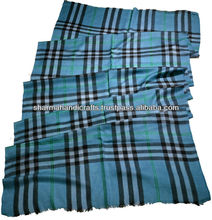 indian cashmere shawls in blue check