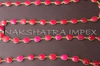 Fuchsia Pink Chalcedony 12x15mm Free Form Slices Faceted Beaded Gold Plated Bezel Chain