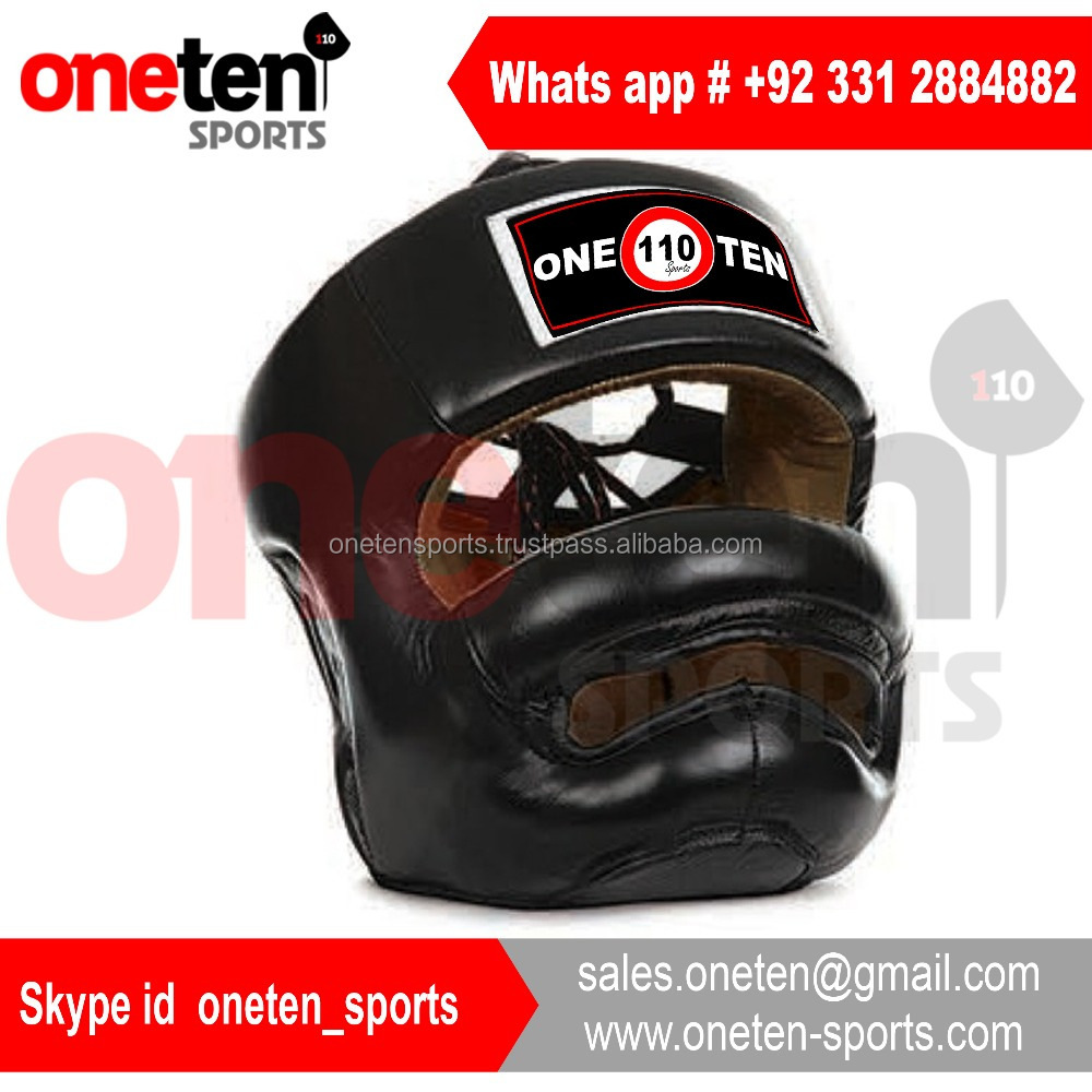 Genuine leather custom boxing head guard, full face boxing head guard
